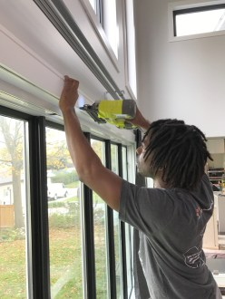 Kes installing our Metrie window moulding