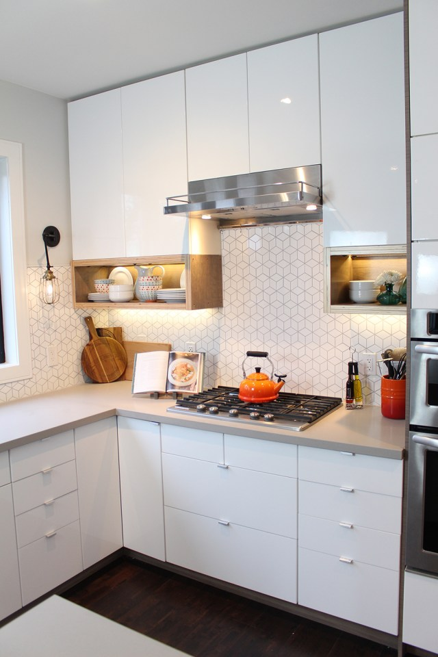 The Dreamhouse Project - modern Dream Kitchen Reveal featuring a white diamond cube backsplash tile and custom wood open shelving boxes