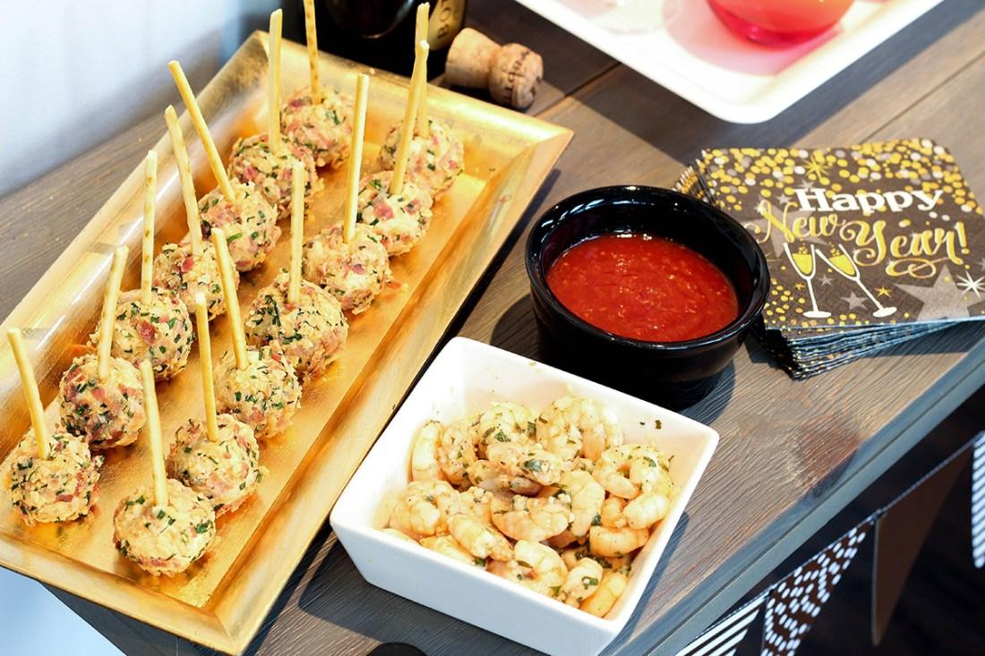 New Year's Eve finger foods - cheese ball bites & garlic shrimp