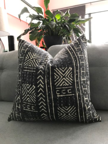 Completed throw pillow cover in Mavi Mudcloth fabric from Tonic Living