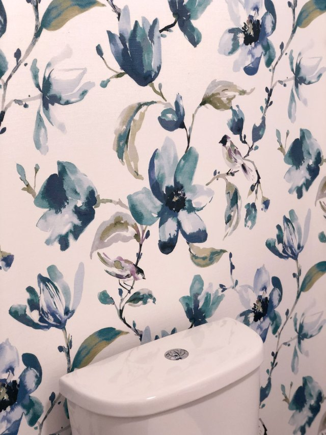 DIY Fabric Wallpaper created using the beautiful Layla fabric in indigo from Tonic Living