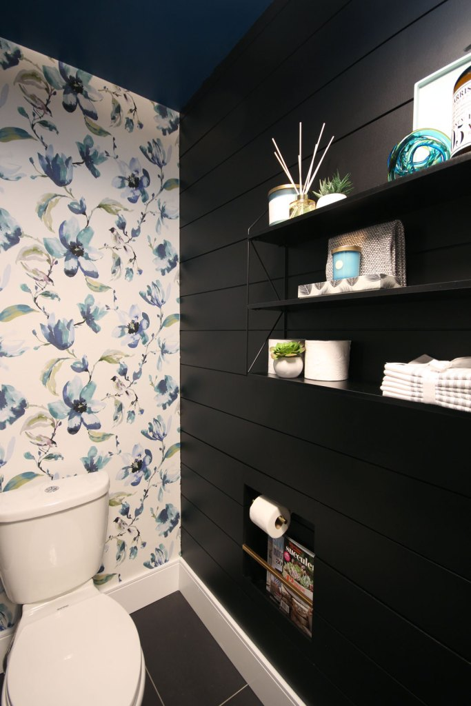 This powder room reveal is full of bold patterns and striking contrasts.