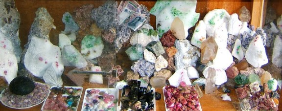 A gemstone market stall in Vietnam