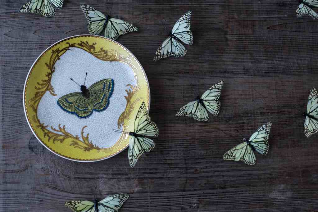 Green butterfly image on yellow, white and gold plate with real green butterflies around it for Dream Courses