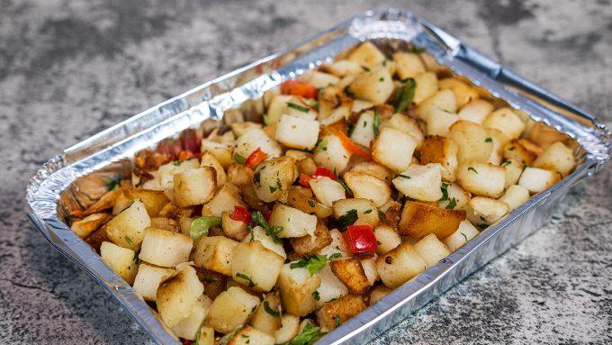 Potatoes O'Brien in an Aluminum To-go Pan
