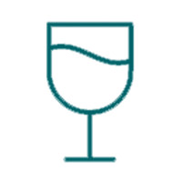 A thin stemmed, half full wine glass outline icon for the drinkware section of the drexelbrook market web store