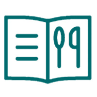 A menu booklet with a spoon and knife image outline icon that is for the holiday meals from special occasions category of the market web store.