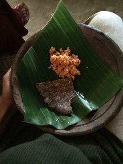 Coconut sambol and coconut roti made locally at a village we visited en route Sigiriya
