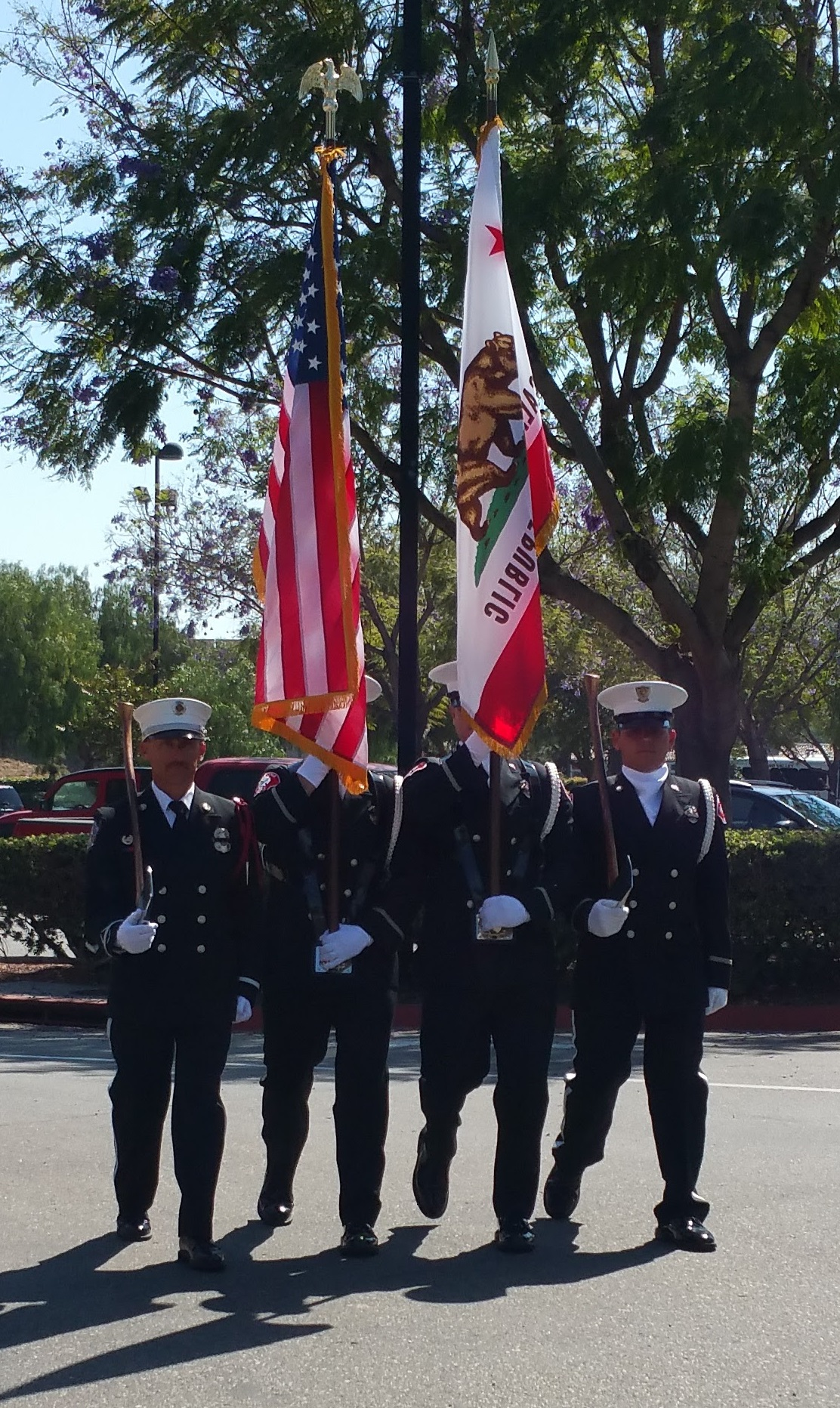 Firefighter Color Guard Axes at Right Shoulder
