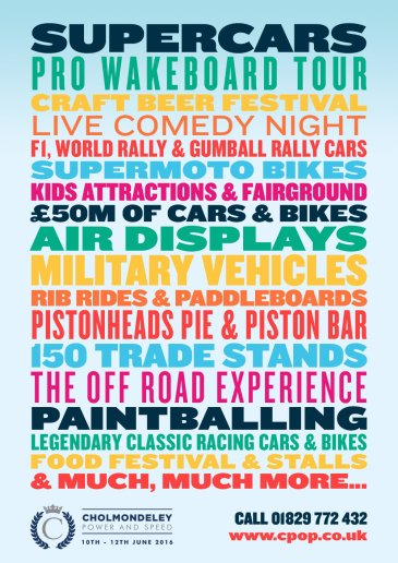 Cholmondeley Power and Speed 2016 CPAS discount tickets poster