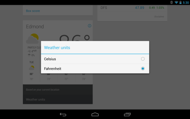 Celsius or Fahrenheit Setting Google Now