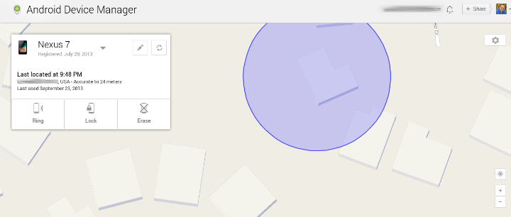 Android Device Manager Location Map