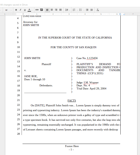 Legal Pleading Template. 27 lines single space. legal pleading ...