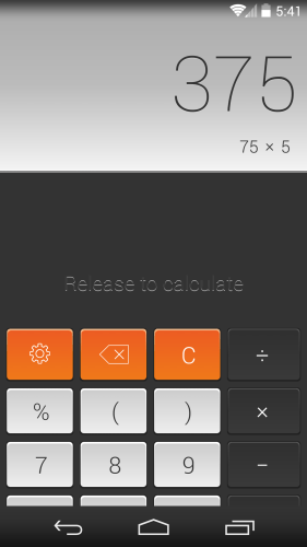 CALCU swipe down to calculate
