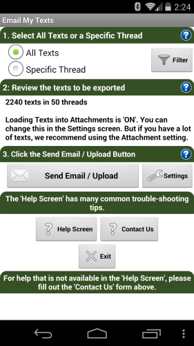Email My Texts Setup