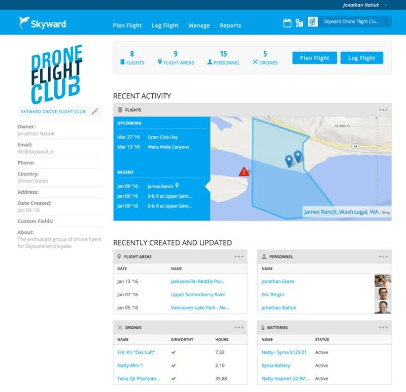 skyward log drone flights
