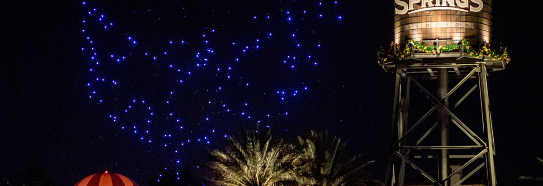 drones flying over disney world