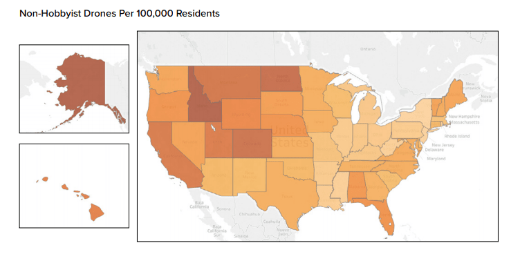 drones per 100,000 residents