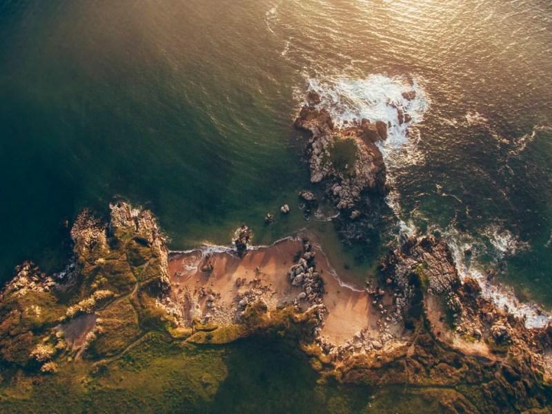 golden hour drone beach
