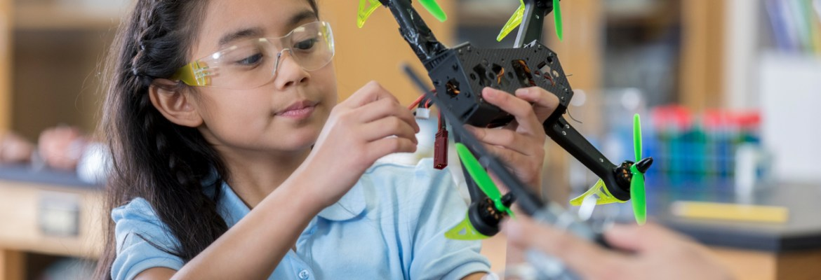 STEM program drone girl build