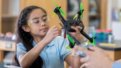 STEM program drone girl build