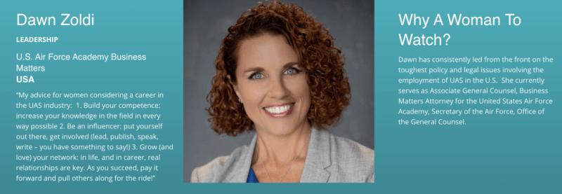 Leadership Honoree - Dawn Zoldi of the U.S.A. 2019 Women to Watch in UAS