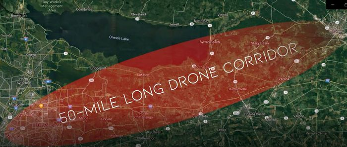 New York drone corridor 50-mile map syracuse NASA Griffiss