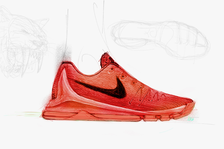 Kevin Durant took to Twitter earlier today to offer up a glimpse of his upcoming signature Nike KD 8 by way of a sketch from designer Leo Chang. Retaining the low-top cut that KD and Chang have opted for since the KD 6, Durant's latest Nike Basketball signature looks to employ a knit upper of some sort along with a molded external heel counter, Dynamic Flywire support, full-length air cushioning and even Free-esque siping along the forefoot portion of the rubber outsole. Stay tuned for a closer look at the new KDs while a release is said to be slated for this July.