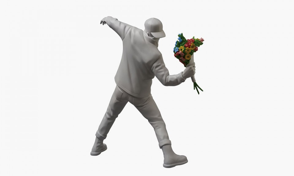 """Medicom Toy """"Flower Bomber"""" Vinyl Figure Inspired by BANKSY"""