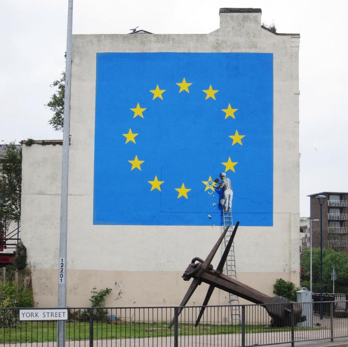 BANKSY Unveils Massive European Union Flag