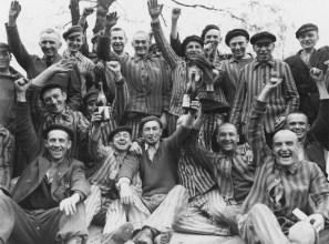 Photographs take by the Americans upon the liberation of Dachau. Notice the sate of the prisoners and how they are not malnourished. These photos are of course contrary to the photos of inmates with Typhus, who were basically skin and bones.