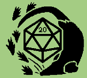 The silhouette of a rat and rat paw prints surrounding a D20.