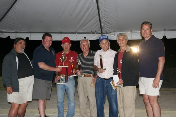 Team Godino won the 24th annual Lackawanna County Commissioners Bocce Tournament. Photographed, from left, are John Rettura, tournament director; Commissioner Patrick M. O'Malley; team members: Dan Checko, Bob Rossi, Michael Studenski and Tony Godino; and William Davis, the deputy director of the county's Parks & Recreation Department.