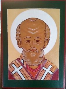 St. Nicolas, after 15th century Russian original. (Yes I also paint icons, it's a nice hobby).