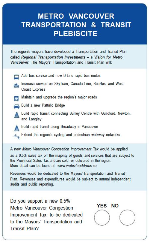 Transit Plebiscite Ballot