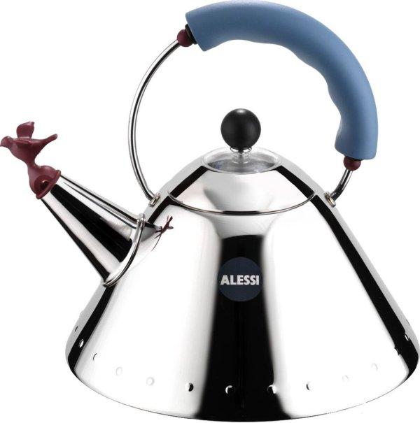 Alessi fluitketel 9093 (Kleur: rood/blauw/zilver)