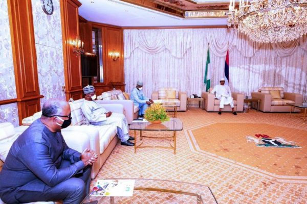 Pic.14. President Buhari receives briefing from PTFCOVID 19 at the State House Abuja e1590961331415 COVID-19: PTF seeks Buhari's approval to open schools, churches, mosques, others