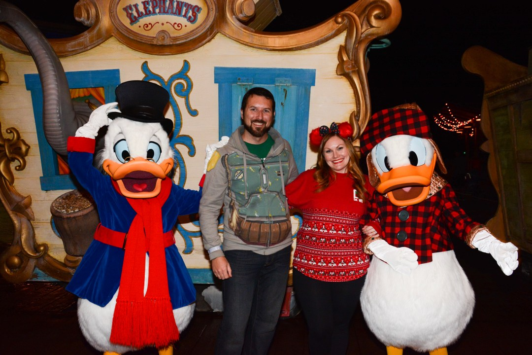 Uncle Scrooge and Festive Donald at Mickey's Very Merry Christmas Party