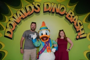 Meeting the host of Donald's Dino-Bash - Donald Duck himself!