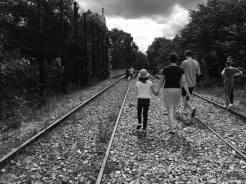 Families were out picking flowers from the tracks