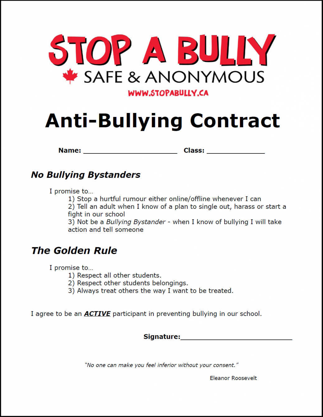 Here The Antibullying Contract Fun And Interesting Idea