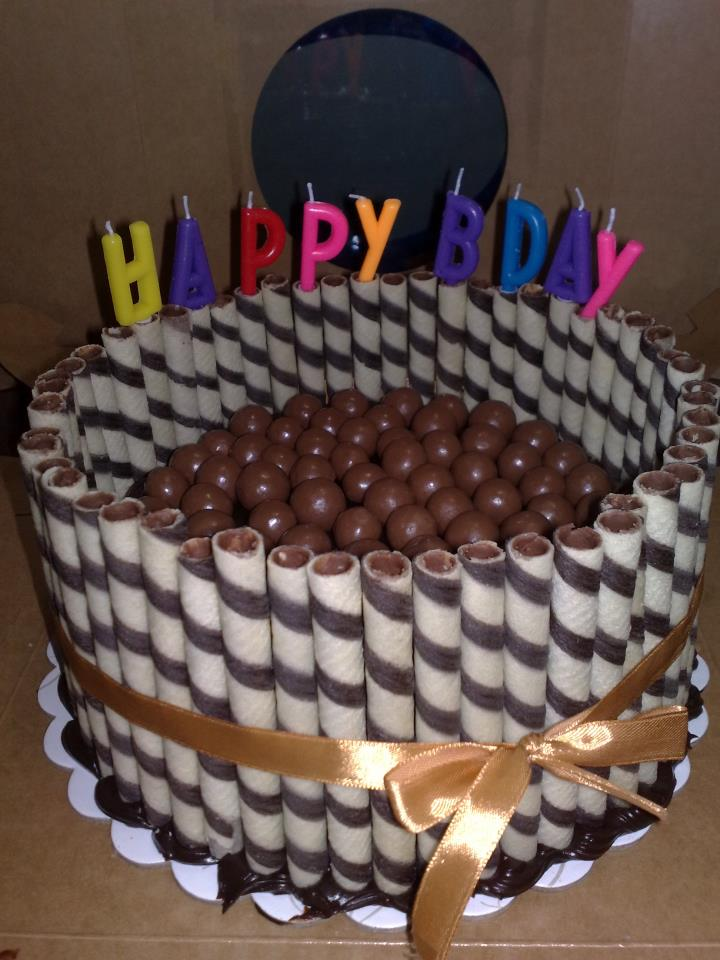 My Yummy Moist Chocolate Malteser Cake With Wafer Sticks