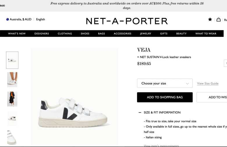 Net-a-Porter Product Description Page  showing returns policy for sustainable eCommerce returns.