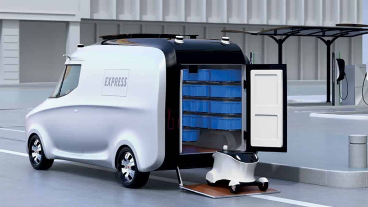 Automated last mile delivery truck with delivery droid- future of last-mile deliveries