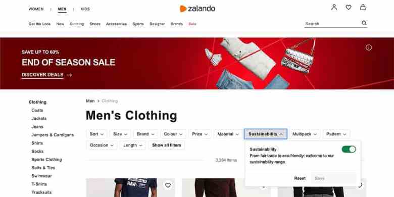 Zalando Online Sustainability PLP Filters