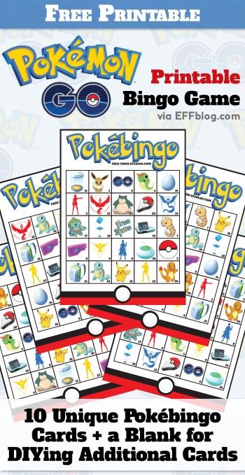 Pokémon GO: PokéBingo Free Printable Bingo Game