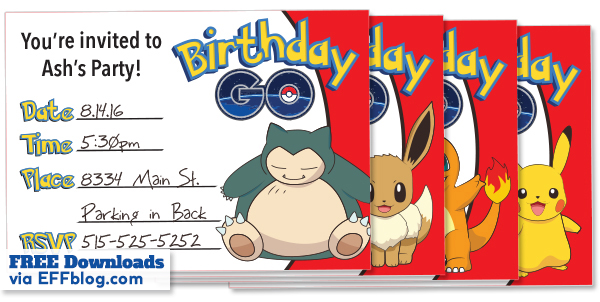 Pokémon Go Birthday Free Printable Invitations