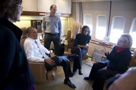 barack-obama-michelle-obama-hillary-clinton-conversation-on-air-force-one-public-domain