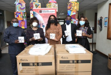 Presentation of Protective Gear and face mask to sickle Cell Foundations