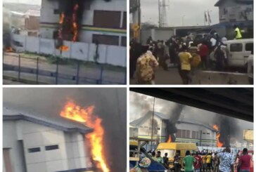 Hoodlums set Lagos police station on fire